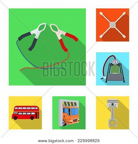 Car, Lift, Pump And Other Equipment Flat Icons In Set Collection For Design. Car Maintenance Station