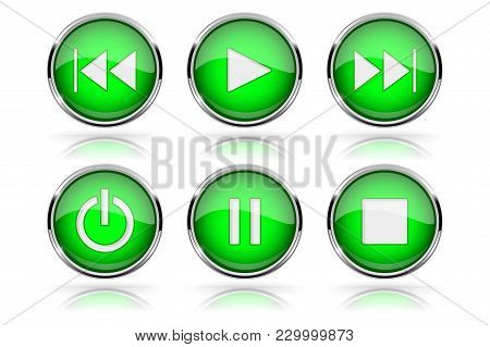 Media Buttons. Green Round Glass Buttons With Chrome Frame. Vector 3d Illustration Isolated On White