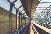 Motion effect of special design bridge Malaysian Mass Rapid Transit railway trek poster