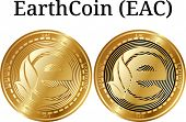 Set of physical golden coin EarthCoin (EAC), digital cryptocurrency. EarthCoin (EAC) icon set. Vector illustration isolated on white background. poster