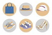 Handbag and hats, vogue shoes set, colorful card isolated on white, blue handbag, vogue heeled shoes, pair of sandals, white cap and hat with bow poster