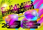 Summer Beach Party Poster for Music Festival. Electronic Music Cover Design for Summer Fest or DJ Party Flyer. Bright Green Background with Sunglasses and Palm Leaf. Summer Vibes. poster