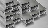 Steel metal rods. Metallurgy industry concept. 3D rendered illustration. poster