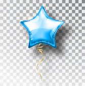 Star blue balloon on transparent background. Party helium balloons event design decoration. Balloons isolated air. Mockup for balloon print. Stocking Christmas decorations. Vector isolated object. poster