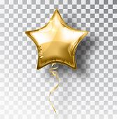 Star gold balloon on transparent background. Party helium balloons event design decoration. Balloons isolated air. Mockup for balloon print. Stocking Christmas decorations. Vector isolated object. poster