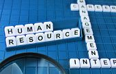 Human resources concept and key words on the game board poster