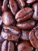 close up image of freshly roasted coffee beans poster