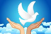 illustration of black and white hand flying peace dove in sky poster