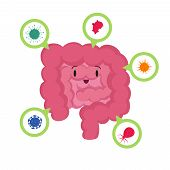 Cartoon happy human intestine with good microscopic bacterias medical probiotics vector concept. Illustration of health digestive, microbe in digestion poster