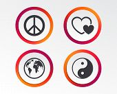 World globe icon. Ying yang sign. Hearts love sign. Peace hope. Harmony and balance symbol. Infographic design buttons. Circle templates. Vector poster