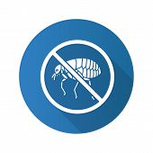 Stop fleas flat design long shadow glyph icon. Parasitic insects repellent. Pest control. Vector silhouette illustration poster