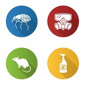 Pest control flat design long shadow glyph icons set. Insects repellent, flea, respirator, rodent. Vector silhouette illustration poster