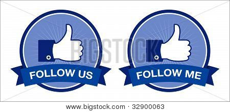 follow us / follow me icons - retro