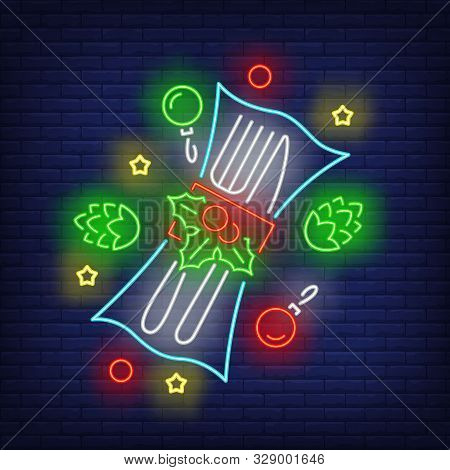 Christmas Flatware In Neon Style. Glowing Neon Fir Cones, Hollen. New Year, Christmas, Winter. Vecto
