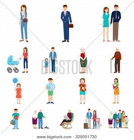 Vector Design Of Family And People Logo. Set Of Family And Avatar Vector Icon For Stock.