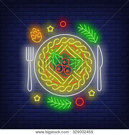 Christmas Pie Neon Sign. Glowing Neon Cake, Flatware. New Year, Christmas, Winter. Vector Illustrati