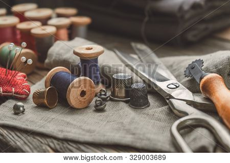 Retro Sewing Items: Tailoring Scissors, Cutting Knife, Thimble, Wooden Thread Spools, Cushion For In