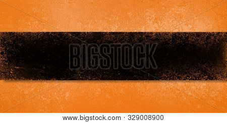 Black And Orange Background Layout With Ribbon Stripe With Old Texture, Elegant Halloween Or Autumn