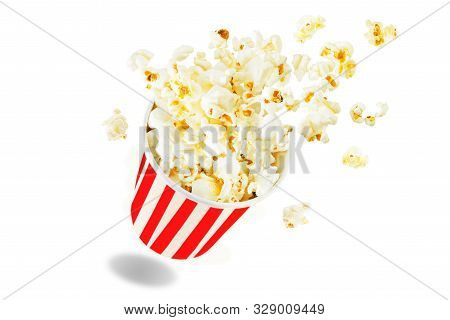 Popcorn With Salt On A White Isolated Background