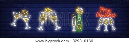 Merry Christmas Neon Lettering And Champagne Glasses Set. Christmas, New Year Day, Celebration Desig