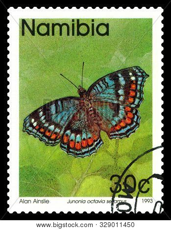 Stavropol, Russia -  October, 21 2019: A Stamp Printed In Namibia Shows Butterfly Junonia Julia Sesa