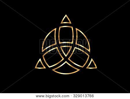 Triquetra Geometric Logo, Gold Trinity Knot, Wiccan Symbol For Protection. Vector Celtic Trinity Kno