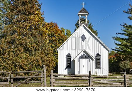 Little White Church By The Side Of The Road In A Rural Area