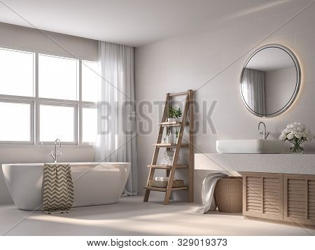 Modern Contemporary Style Bathroom 3d Render, With Beige Tile Walls, Black And White Pattern Floor,d