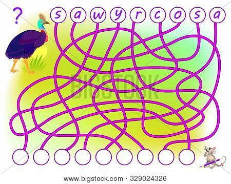 Logic Puzzle Game For Study English With Labyrinth. Find The Correct Places For Letters, Write Them