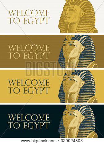 Set Of Vector Banners With Golden Mask Of Egiptian Pharaoh Tutankhamun. Advertising Poster Or Flyer