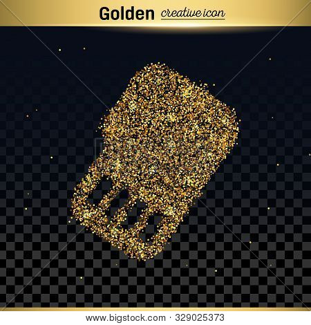 Gold Glitter Vector Icon Of Sim Card Isolated On Background. Art Creative Concept Illustration For W