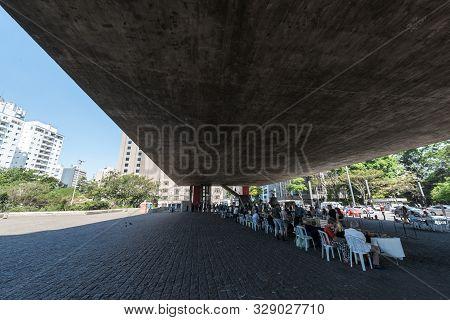 Sao Paulo, Brazil - 05, October, 2019: Wide Angle Picture Of Amazing Architecture Masp, An Art Museu