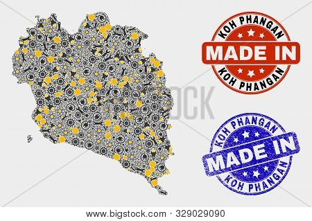 Mosaic Industrial Koh Phangan Map And Blue Made In Textured Seal. Vector Geographic Abstraction Mode