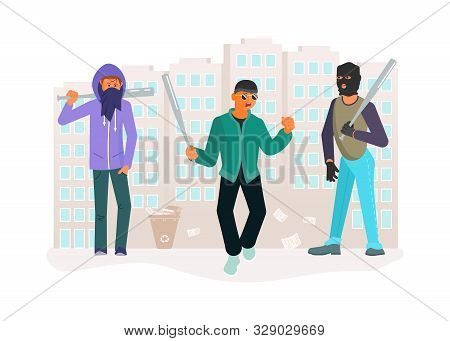 Horror Gang Of Criminals On City Street. Young Ghetto Guys Are Threatening Baseball Bats. Crime Conc