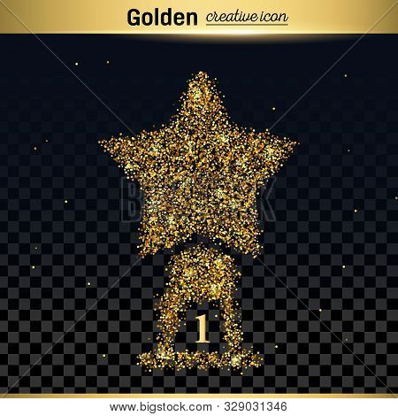 Gold Glitter Vector Icon Of Statuette Isolated On Background. Art Creative Concept Illustration For