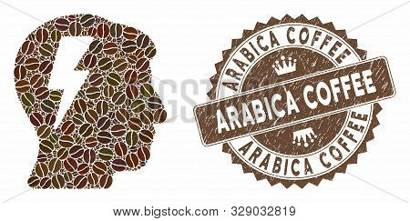 Mosaic Brainstorming And Grunge Stamp Watermark With Arabica Coffee Caption. Mosaic Vector Brainstor