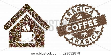 Mosaic Cafe House And Rubber Stamp Seal With Arabica Coffee Caption. Mosaic Vector Cafe House Is For