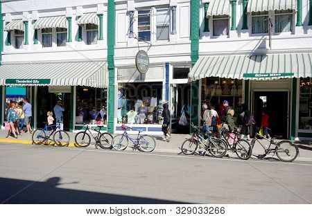Mackinac Island, Michigan / United States - June 11, 2018: One May Purchase Souvenirs, T-shirts, And