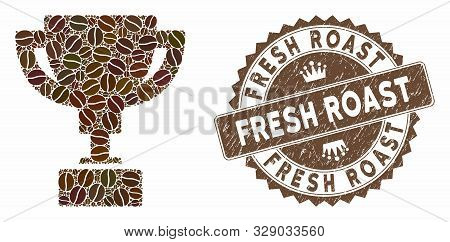 Mosaic Gold Cup And Distressed Stamp Seal With Fresh Roast Phrase. Mosaic Vector Gold Cup Is Designe
