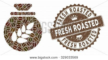 Mosaic Grain Harvest Sack And Corroded Stamp Seal With Fresh Roasted Text. Mosaic Vector Grain Harve