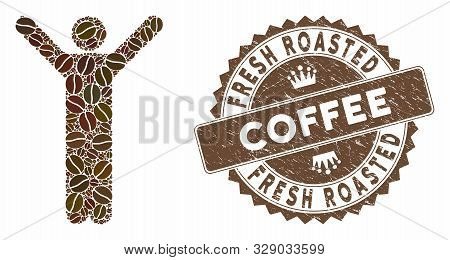 Mosaic Happy Man And Rubber Stamp Seal With Fresh Roasted Coffee Text. Mosaic Vector Happy Man Is Co