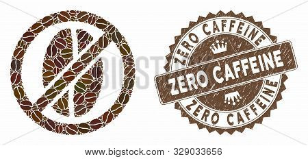 Mosaic No Caffeine And Grunge Stamp Watermark With Zero Caffeine Text. Mosaic Vector No Caffeine Is