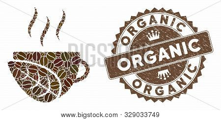 Mosaic Organic Coffee Cup And Distressed Stamp Seal With Organic Caption. Mosaic Vector Organic Coff