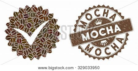 Mosaic Quality And Grunge Stamp Seal With Mocha Phrase. Mosaic Vector Quality Is Formed With Grain.