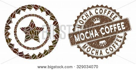 Mosaic Quality Stamp And Rubber Stamp Watermark With Mocha Coffee Caption. Mosaic Vector Quality Sta