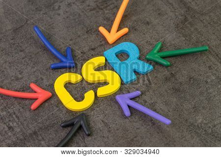 Csr, Corporate Social Responsibility Concept, Multi Color Arrows Pointing To The Abbreviation Csr At