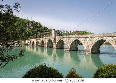 Mehmed Pasa Sokolovic Bridge In Spring. Also Called Drina Bridge, Or Most Na Drini, It Is A Medieval