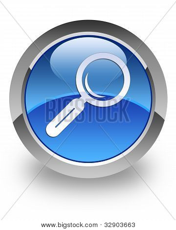 search (magnifying glass) icon on glossy blue round button poster
