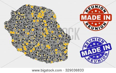 Mosaic Technical Reunion Island Map And Blue Made In Grunge Stamp. Vector Geographic Abstraction Mod