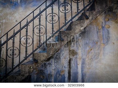 Textured wall with stairs